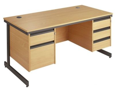 Maddellex Cantilever Framed Beech Desk With One Drawer,one Filing Drawer On Left And Three Drawer Pedestal On Right