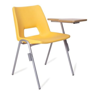 Pp1 Yellow Poly Chair With A Writing Tablet