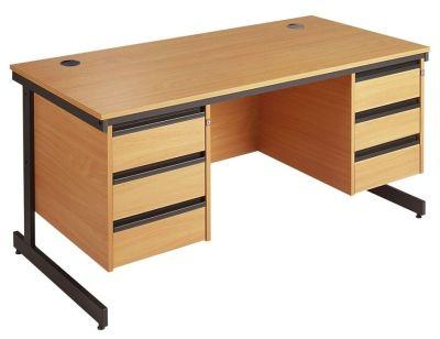 Maddellex Beech Desk Incorporating Three Drawer Pedestals