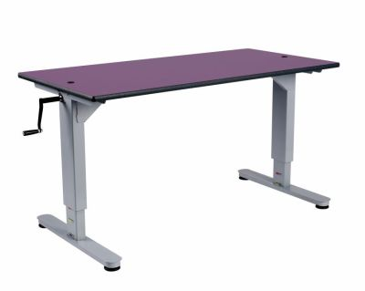 8002 Height Adjustable Desk With A Purple Top