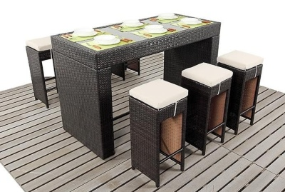 Asrizona Bar Height Rattan Dining Set