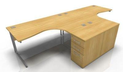 Tx Two Person Corner Desk And Desk Height Pedestals Bundle
