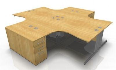 Tx Four Person Coriner Desk And Deek Height Pedestal Bundle Deal