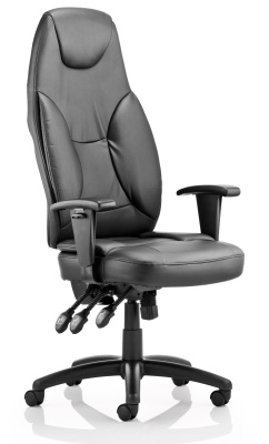 Galaxy Black Leather Chair With Extra High Back