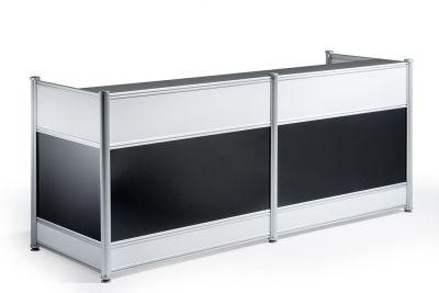 Nexus High Bloss Black Reception Desk Front
