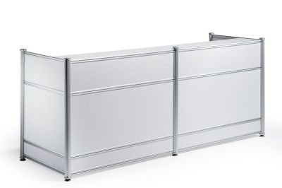 Nexus High Gloss White Reception Desk Front
