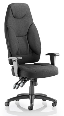 Galaxy High Back Ergonomic Chair Front Angle Black Fabric