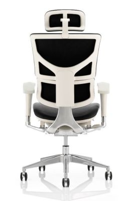 Ergo D Leather Task Chair With A Grey Frame Rear View
