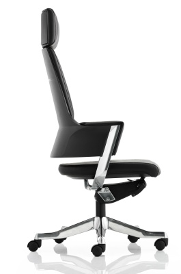 Starlight Black Leather Designer Executive Chair Side View