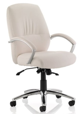 Oasis White Leather Executive Chair
