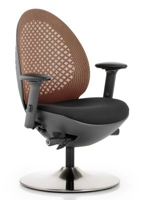 Ovum Designer Mesh Chair With A Circular Base And Orange Mesh