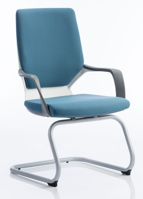 Carbon Blue Fabric Visitors Chair Front Angle