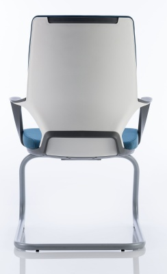 Carbon Visitors Chair Blue Fabric Rear View