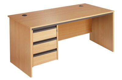 Maddellex Desk In Beech With Integeral 3 Drawer Pedestal