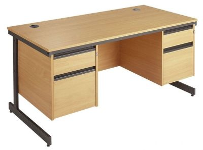 Maddellex Cantilever Desk With Two Drawer Pedestals Either End In Beech