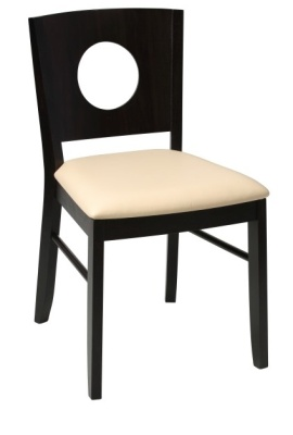 Polo Wooden Dining Chair With A Wenge Frame And Ivory Faux Leather Seat