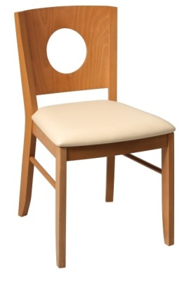 Polo Dining Chair With Oak Frame With Ivory Faux Leather Seat