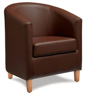 Tiger Brown Leather Tub Chair
