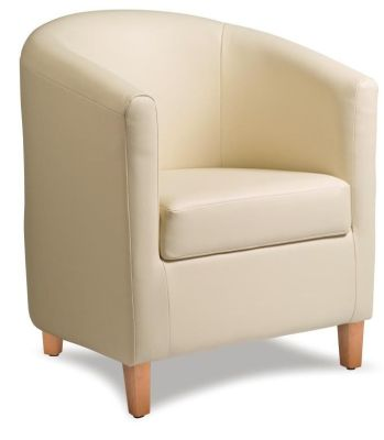 Tiger Cream Leather Tub Chair Front Angle