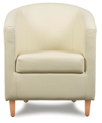 Tiger Cream Leather Tub Chair Front Shot