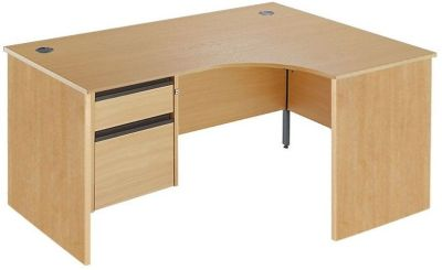 Maddellex Right Hand Corner Desk With Lockable Two Drawer Pedestal