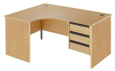 Maddellex Left Hand Beech Corner Desk With Three Drawer Pedestel