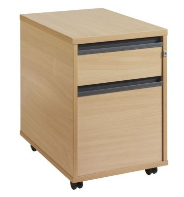 Maddellex Under Desk Mobile Pedestal With One Shallow Drawer And One Filing Drawer In Beech