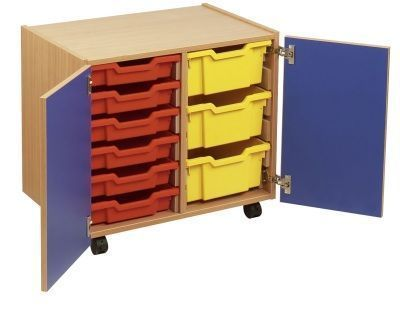 Smartie 12 Mobile Classroom Cupboard With Red And Yellow Drawers