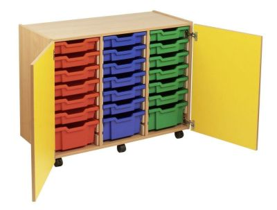 Smartie 24 Mobile Classroom Storage Cupboard With Multiple Storage Options And Coloured Drawers