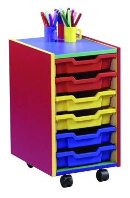 Colour My World Multi Coloured Shallow Tray Unit With Castors