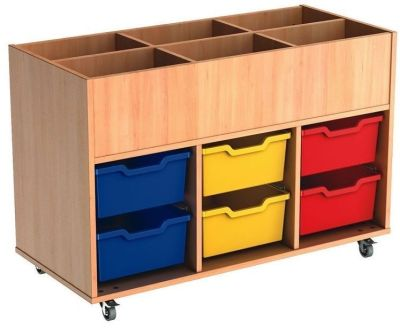 Mobile Busybase Mobile Book And Tray Storage With Deep Coloured Trays