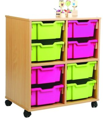 All Sorts Classroom Stackable Unit With 8 Deep Pink And Green Trays
