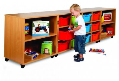 Modern Tri-Fold Mobile Large Classroom Storage Unit With Drawers