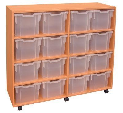 Modern Mobile Jumbo Storage Unit With Clear Drawers