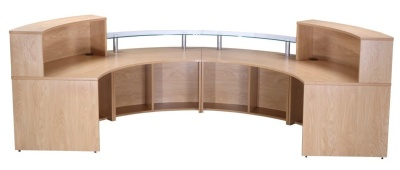 PB Deluxe Reception Desk Rear View Crown Cut Oak Finish