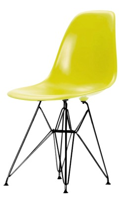 Eames Dsr Chartreuse Seat And A Black Frame