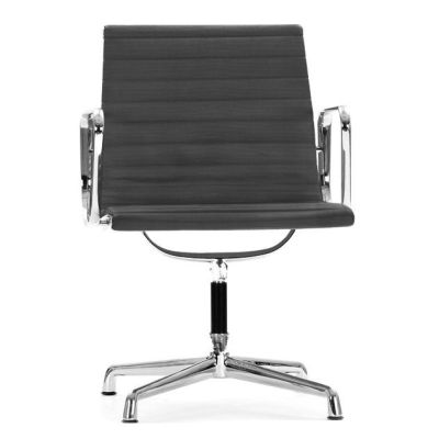 Aria Ribbed Conference Swivel Chair Graphite Grey Leather