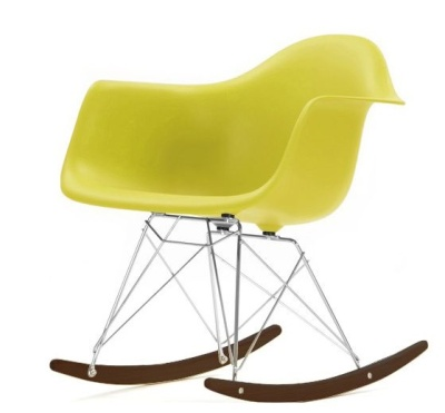 RAR Rocking Chair Chartreuse Seat With Walnut Base