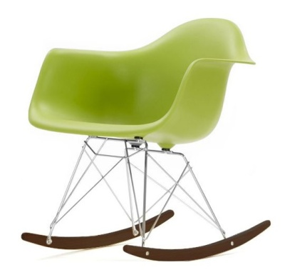 Eames RAR Rocking Chair With A Llime Green Seat And Walnut Base