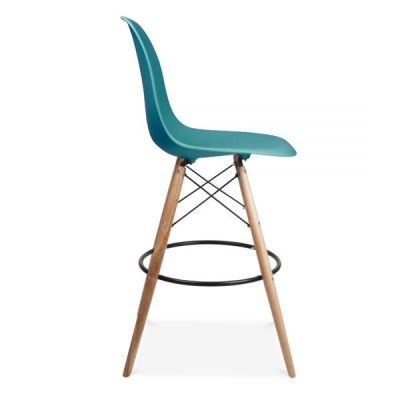 Eames Dsw High Stool Teal Seat Side View