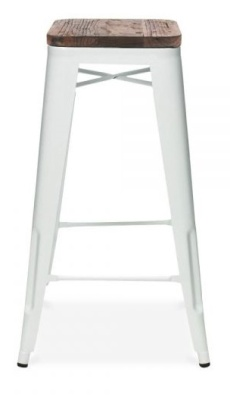 White Xavier Pauchard High Stool With A Wooden Seat