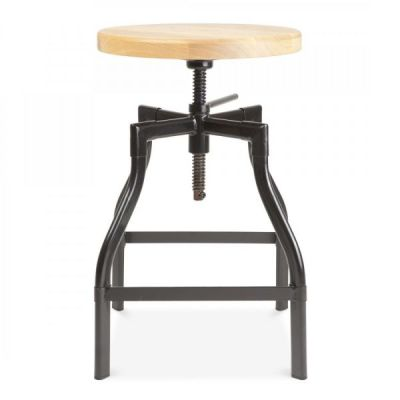 Industrial Turner Stool Black Frame