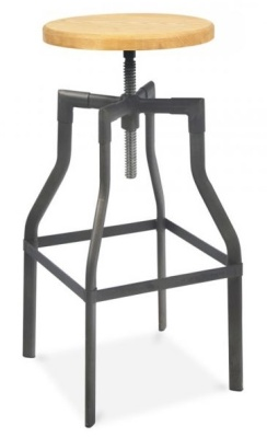 Industrial Turner Bar Stool Black Frame 650mm High