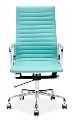 Eames Style Ribbed Executive Chair In Turquoise