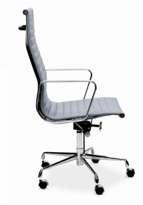 Eames Style Executive High Back Chair In Grey Leather