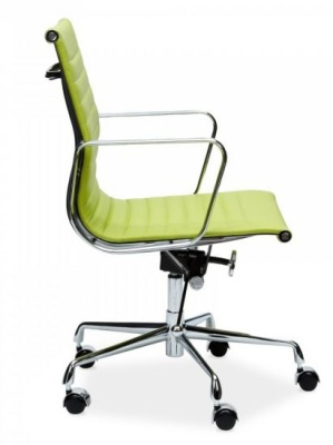 Eames Style Ribbed Chair In Lime Green Leather