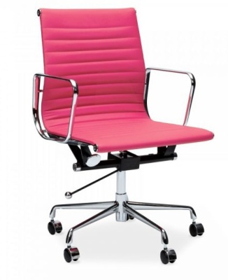 Eames Mid Back Chair In Pink Leather