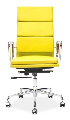 Eames High Back Leather Soft Pad In Yellow