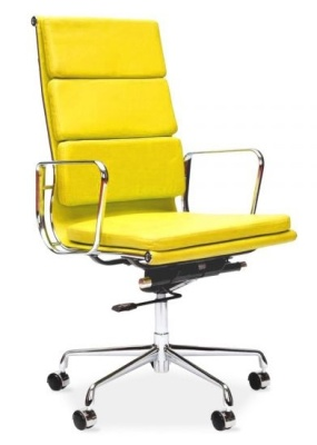 Eames Soft Pad High Back Chair In Yellow Leather