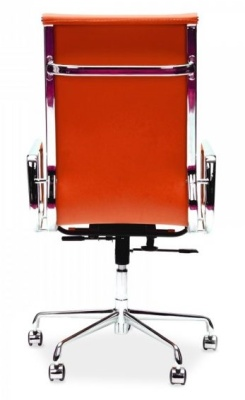 Eames High Back Designer Chair In Orange Leather Rear View